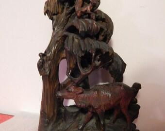 """Vintage Black Forest . 19 1/2"""" Carved Wood Sculpture . Deer, Owl, Bird, Squirrel, more ."""