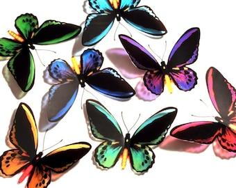 3D Butterflies - BIRDWING - MIXED COLOUR - Girls Bedroom, Nursery, Baby, Gift, Art, Wall Decor, Mirror, Bedroom, Kitchen, Bathroom, Kid