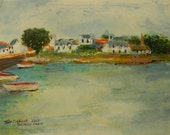 The Etel River Port of Bretagne (Brittany) France-Original Painting in Frame