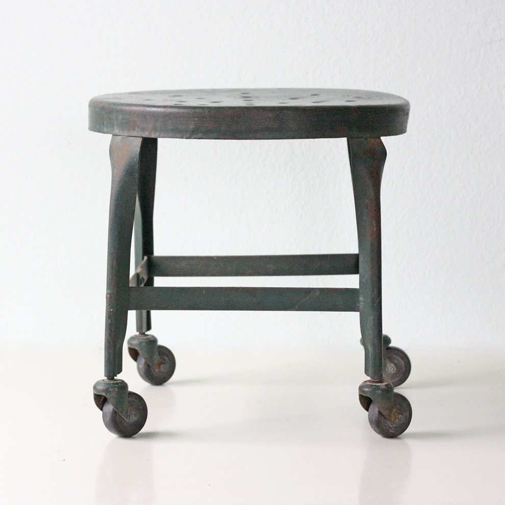 Vintage Green Stool Metal With Wheels By Bellalulu On Etsy