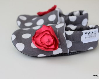 Baby girl shoes Soft Sole  Booties Slipper infant newborn Girl  Flower Pink Grey Gray Polkadots polka dot Non Slip SWAG shower gift