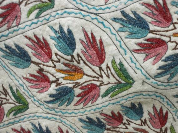 Hand Made Embroidery Rug Floral Numdah Kashmir Felt By