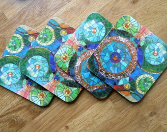 SET OF 4 COASTERS Mosaic Circles Coaster **Special Offer** Mosaic Art - Blue Coasters Abstract Coasters Rustic Coasters - Housewarming Gift