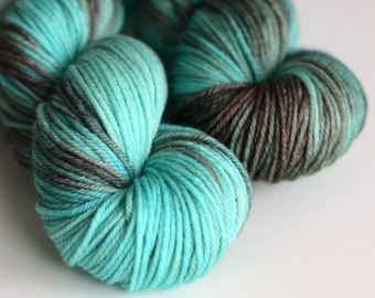 Kraken - Kettle Dyed Yarn, Hand Dyed - Worsted Weight - Superwash Merino Wool - Turquoise and Brown