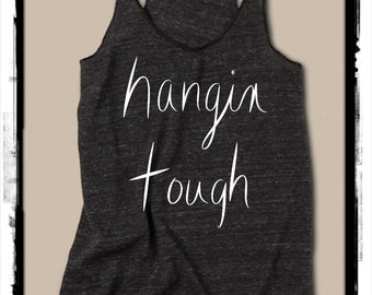 Hangin Tough Girls Ladies Heathered Tank Top Shirt screenprint Alternative Apparel