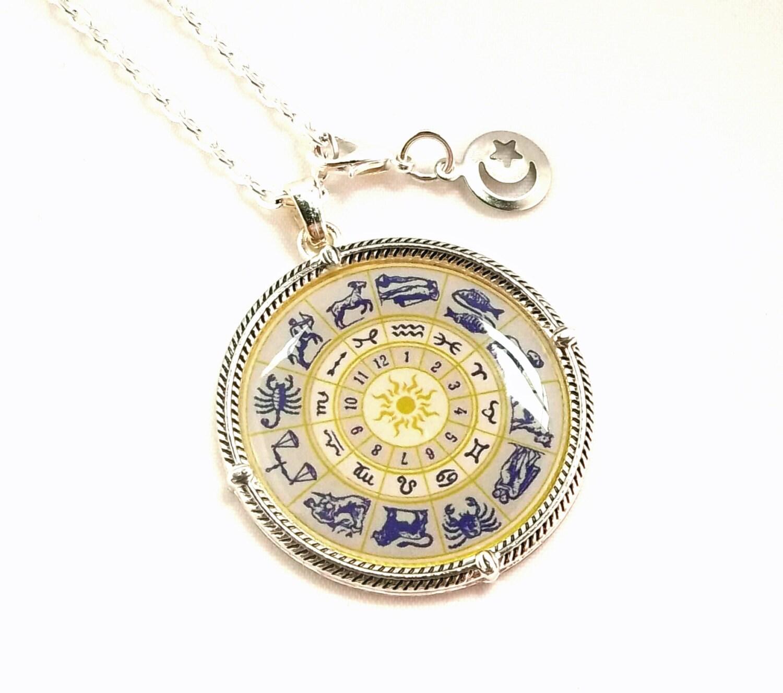 zodiac enamel necklace with moon charm dangle by