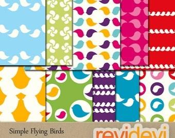 Digital papers - Simple fyling birds 10079 - printable digital patterned papers for backrgound, scrapbooking
