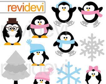 Cute penguins clipart - Winter clipart.. Penguin Family.. Digital clip art