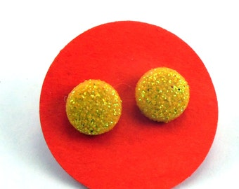 Yellow Glitter Dot Earrings