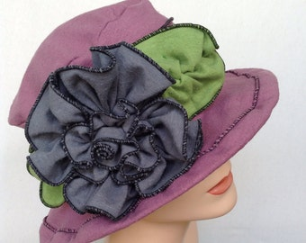 Ladies Sun Hat - Edwardian Style - Organic Cotton and Hemp - Dusty Purple - Mabel Rose