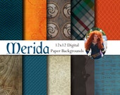 Brave Merida Inspired 12x12 Digital Paper Backgrounds for Digital Scrapbooking, Party Supplies, etc -INSTANT DOWNLOAD -