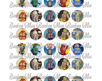 Retro Robots One Inch Circles Digital Download Collage Sheet - DIY You Print - INSTANT DOWNLOAD