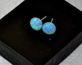 8mm Opal Earrings, Sterling Silver Stud  Earrings, Australian Opal, Blue Earrings, Opal Jewelry, 925 Silver