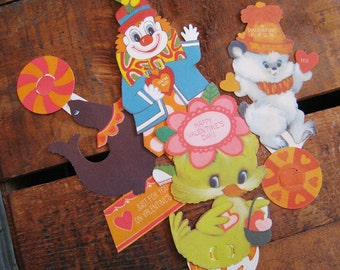 Vintage Mechanical Circus Clown and Animals Valentines - Set of 4 Cards - Unused