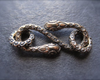 Bronze Snake Charmer hook and eye clasp  - 22mm X 10mm
