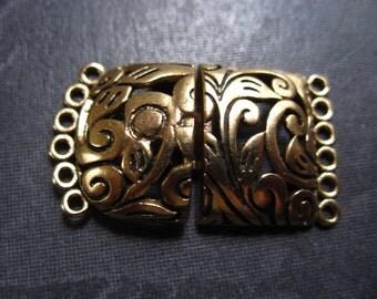 Vanessa Clasp - Bronze - Multiple Strand Clasp - 6 strands