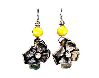 Yellow with white polka dots, large silver flower earrings