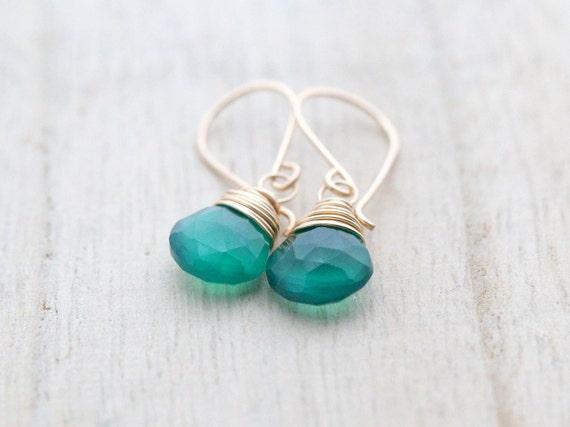 Emerald Green Earrings, Gold Filled Wire Wrapped Onyx Gemstones, Emerald Alternative