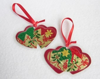 Twin Hearts Christmas Tree Ornaments, Paper Christmas Ornament, Red and Gold Christmas, Victorian Christmas Decor