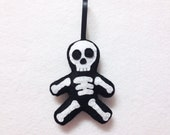 Felt Holiday Ornament - Sam the Skeleton - Made to Order