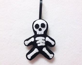 Felt Holiday Ornament - Sam the Skeleton - Made to Order