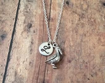 Pelican initial necklace - pelican jewelry, Florida jewelry, silver pelican necklace, bird jewelry, beach necklace, Florida necklace