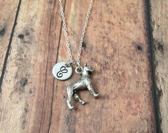 Boxer dog initial necklace - boxer jewelry, dog breed jewelry, pet boxer necklace, gift for boxer owner, silver boxer necklace
