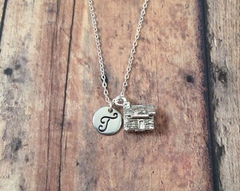 Log cabin initial necklace - cabin jewelry, log cabin necklace, silver cabin necklace, camping necklace, house necklace, camping jewelry