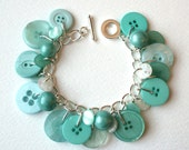 Seafoam Green Button Charm Bracelet
