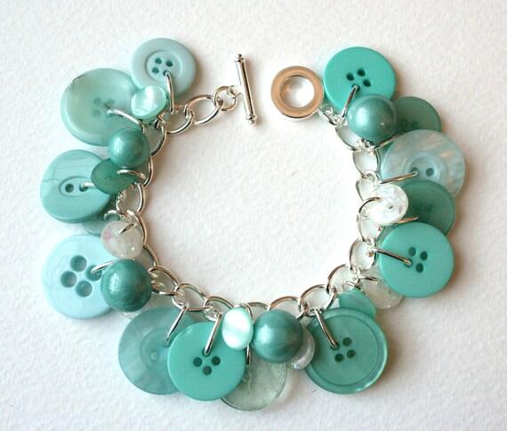 Seafoam Green Button Charm Bracelet