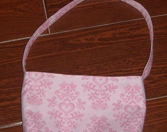 pink tonal damask with hearts toddler purse