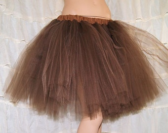Chocolate Brown Romance Knee Length TuTu skirt adult All Sizes MTCoffinz