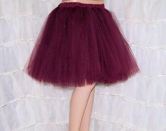Burgundy Wine Romance Knee Length TuTu skirt adult All Sizes MTCoffinz