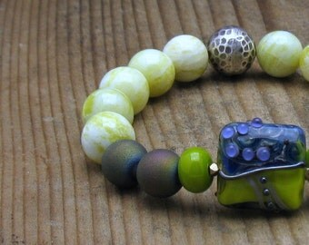 Purple and Green Bohemian Beaded Bracelet / Boho Luxe Peacock Druzy Agate Lampwork / Chartreuse Purple Sterling Silver / Statement