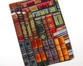TRADE SIZE paperback book cover,  book protector, cotton, padded cover, ribbon bookmark, gilt edged books print