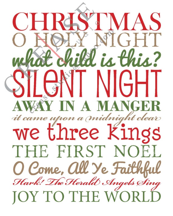 "Items similar to Christmas Songs, song titles, holiday decor 8""x10"" art print, Digital File ..."