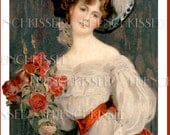 Instant Download Beauty with Red Roses PNG Customizable Digital Scan Antique Painting FRENCH postcard VALENTINE Idea