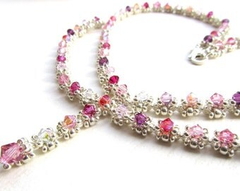 Evangeline Necklace Tutorial, Jewellery Making Pattern, Beadweaving Design, Vintage Style Crystal Necklace Pattern