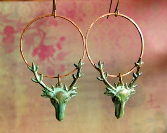 Deer earrings Stag Patina Indie hipster jewelry