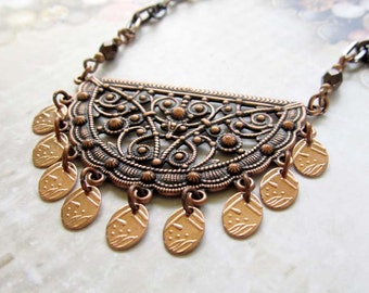 Copper necklace, bohemian necklace, crescent necklace, Boho Bohemian Jewelry