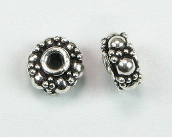 Pretty Rondelle Dotted Spacer Beads Antiqued Bali Sterling Silver 7mm (2 pieces)