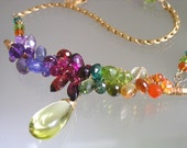 Rainbow Gemstone Curved Bar Necklace - Spectrum Statement Choker - Cosmopolitan Wire Wrapped Necklace - Lemon Quartz - Tanzanite - Signature