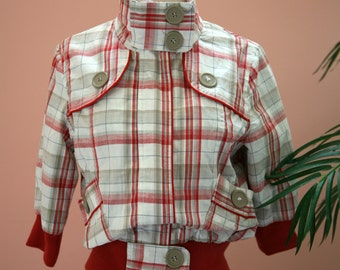Red, White and Tan Checkered Large Button Detailed Cropped Jacket Size Medium, Short Sleeve Jacket, Plaid Crop Jacket