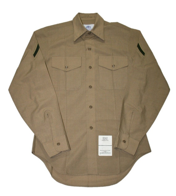 vintage usmc khaki military button up shirt mens size 15 34
