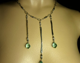 Hammered Silver and Green Quartz Necklace