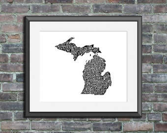 Michigan typography map art print 11x14 customizable state poster wall decor - personalized wedding gift custom engagement gift