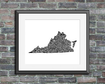 Virginia typography map art print 11x14 customizable personalized custom state poster wall decor engagement wedding housewarming gift