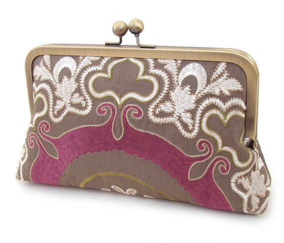 Clutch bag, embroidered silk purse, PLUM SCROLLS