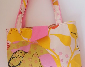 SALE Floral Bird Tote- Handbag  Pink Yellow Red Drawing Room Fabric-Duck Cotton-Medium-Gift for Her-Wedding Gift-Bridal Party Gift