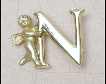 """Cursive Signed Razza """"N"""" Initial with Angel Pin"""